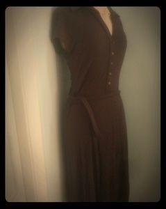 Sisley brown soft v neck tie dress sz med.